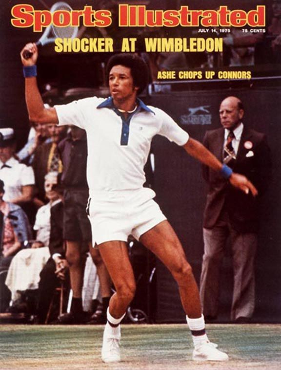 Arthur Ashe - July 14,1975 Sports Illustrated Cover. Ashe def. Jimmy Connors in the 1975 Wimbledon Men's Final 6-1, 6-1, 5-7, 6-4