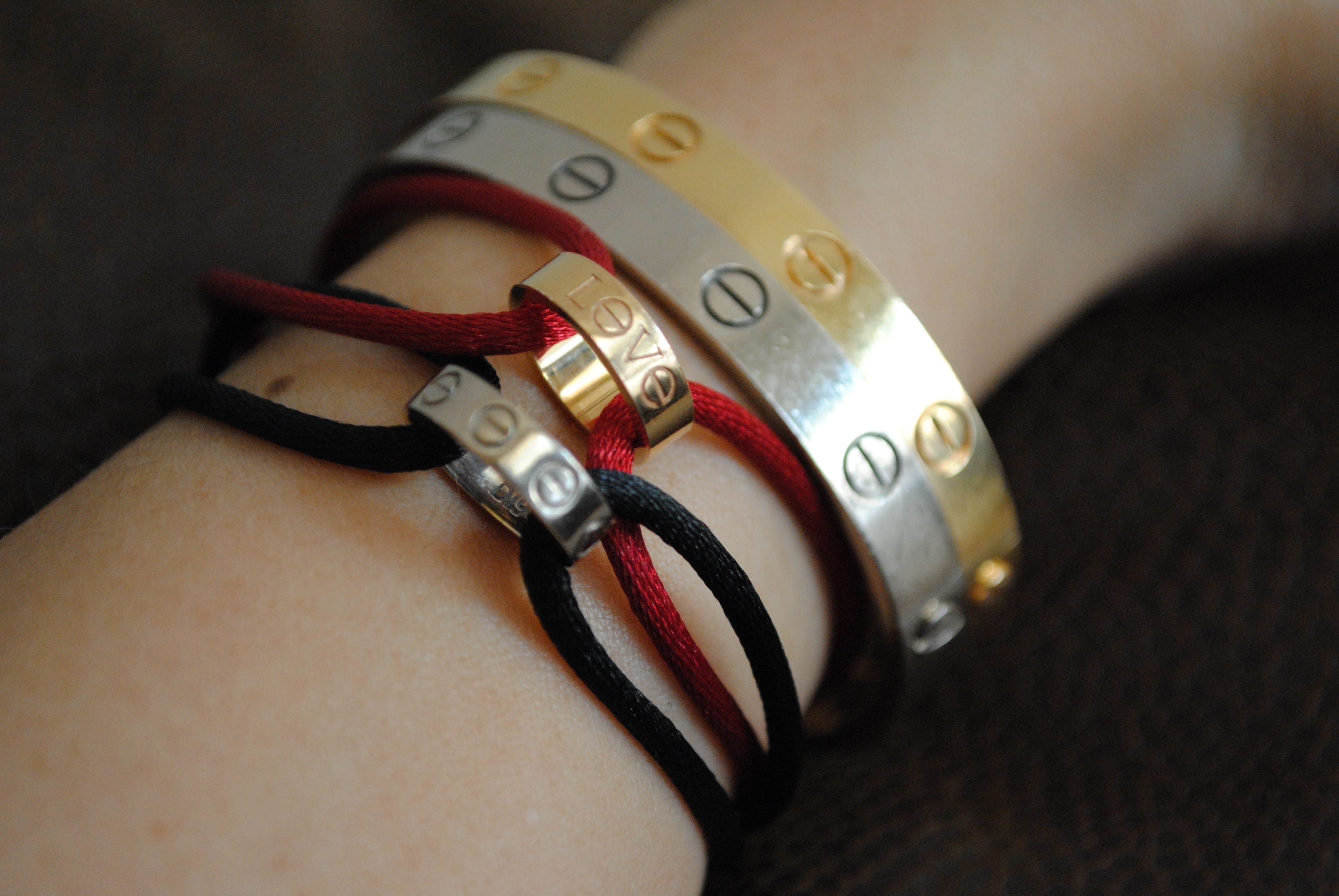 Cartier Love Charity Bracelet White Gold With Black Cord Pink Red