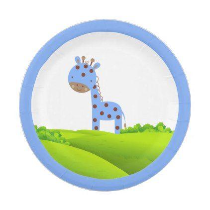 Adorable Blue Giraffe Paper Plates - paper gifts presents gift idea customize  sc 1 st  Pinterest & Adorable Blue Giraffe Paper Plates - paper gifts presents gift idea ...