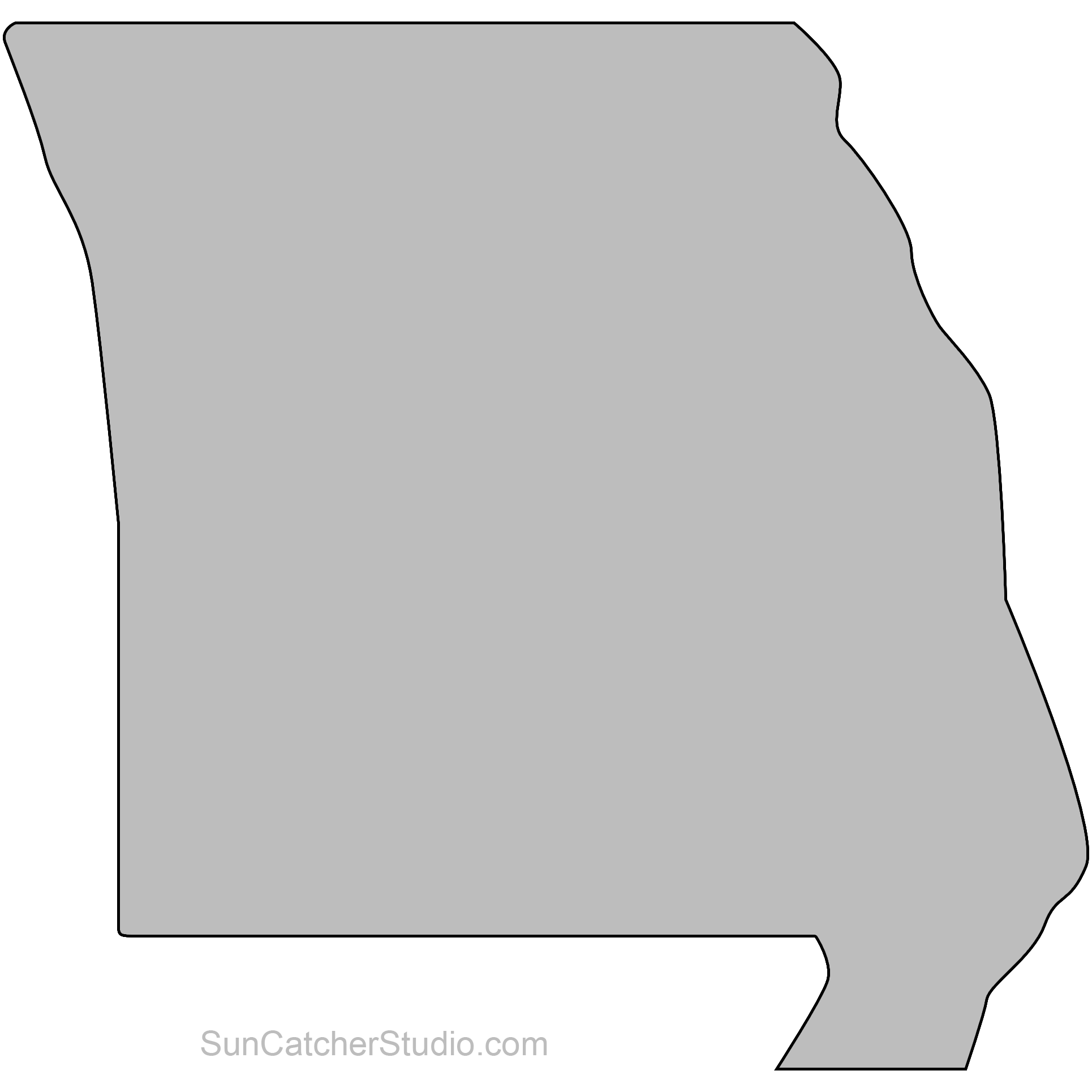 Missouri Map Outline Printable State Shape Stencil Pattern Map Outline Wooden Signs Diy Pattern