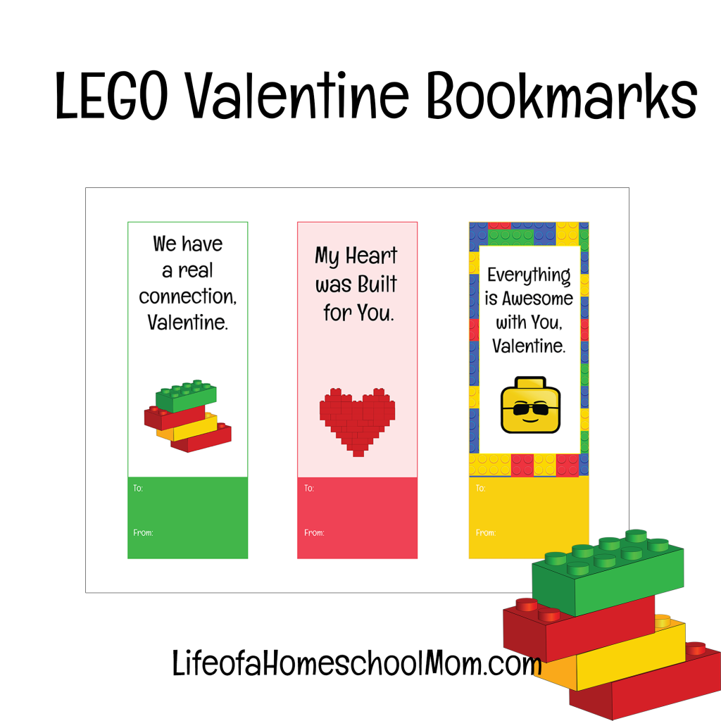 valentine bookmarks to color : Printable Lego Valentine Bookmarks