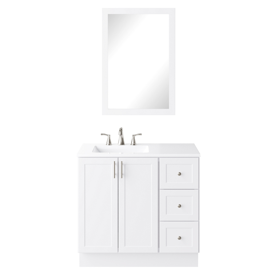 Style Selections 36 5 In White Single Sink Bathroom Vanity With