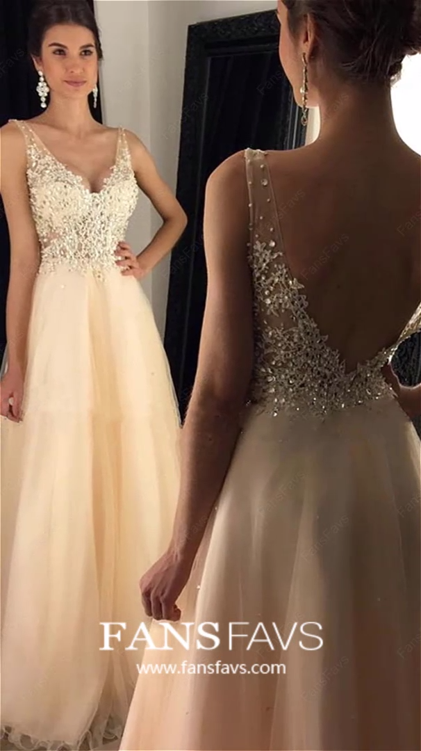 Ivory Prom Dresses Long, A-line Formal Dresses Tulle, V-neck Graduation Dresses Lace, Sexy Wedding Party Dresses Open Back #FansFavs