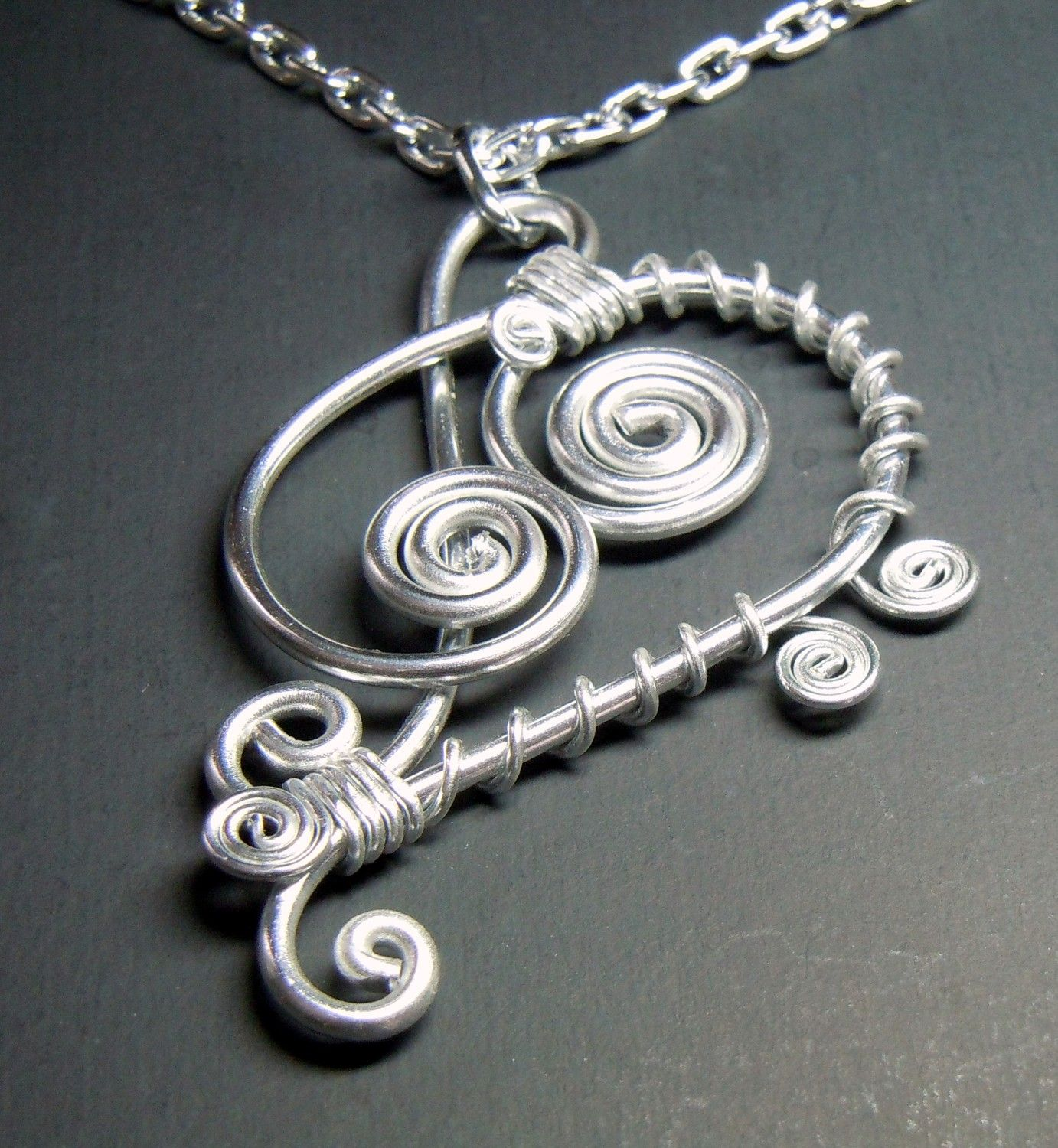 Treble and bass clef pendant necklace aloadofball Images