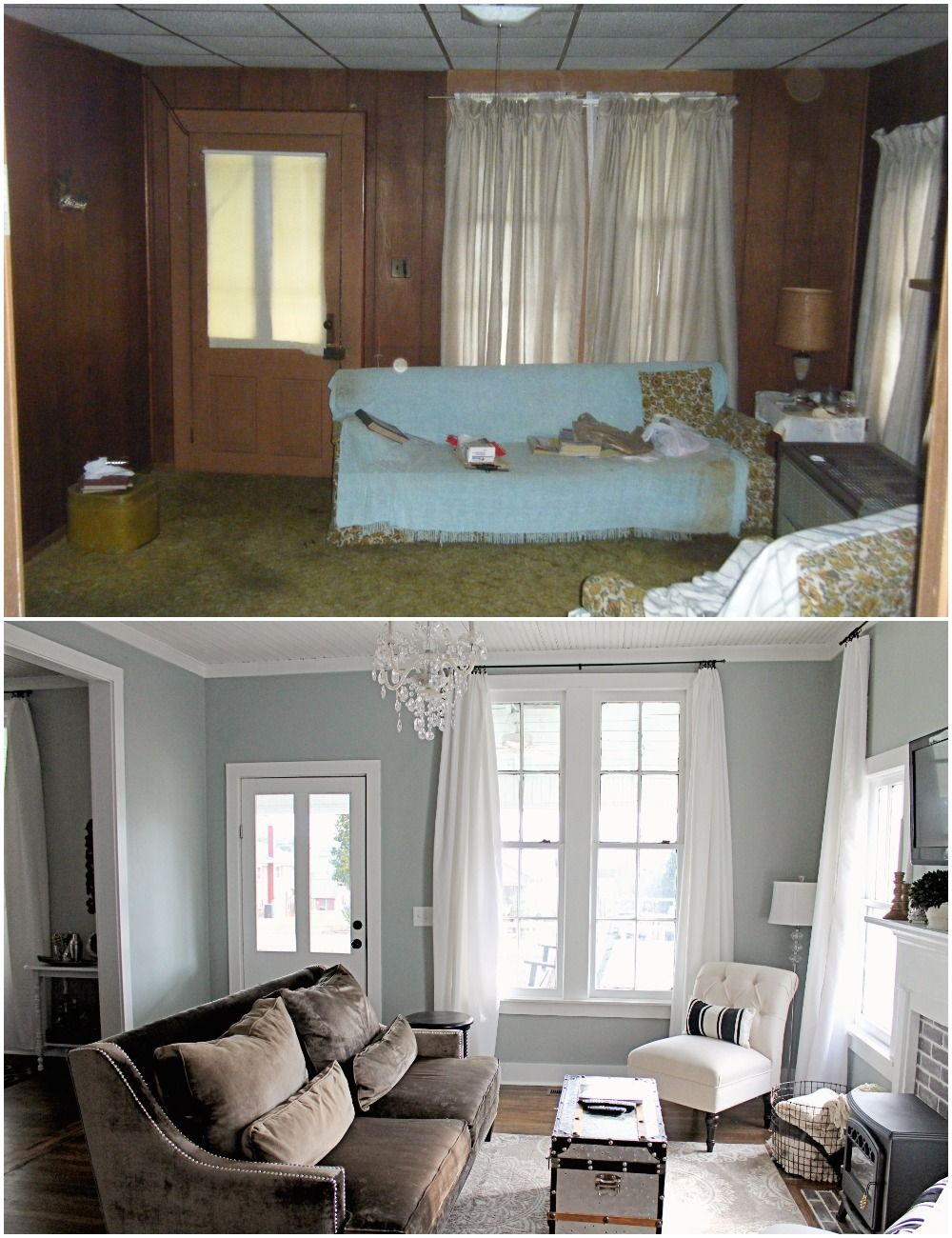 elizabeth burns design family farmhouse fixer upper french farm house living room before and. Black Bedroom Furniture Sets. Home Design Ideas