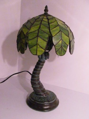 Leaded Stained Glass Tropical Palm Tree Decorative Table Lamp Tree Lamp Decorative Table Lamps Lamp