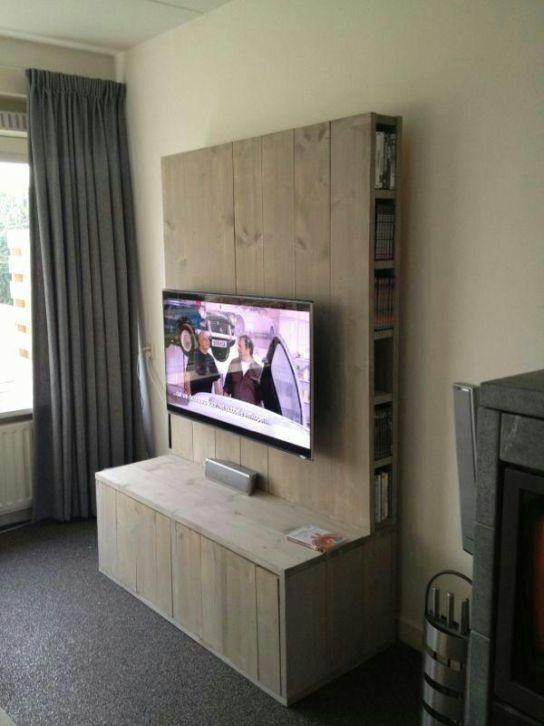 steigerhouten tv meubel hillegom woonkamer - Tv Wand