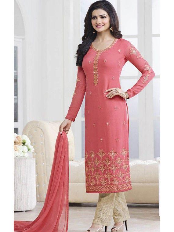 cd5c5bfbf7 Shinning Pink Prachi Desai Salwar suit   Bollywood Salwar Kameez ...