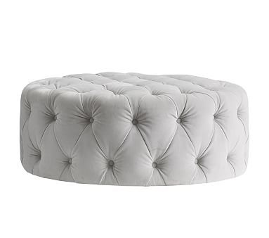 Admirable Monique Lhuillier Large Round Tufted Ottoman Gray Velvet Creativecarmelina Interior Chair Design Creativecarmelinacom