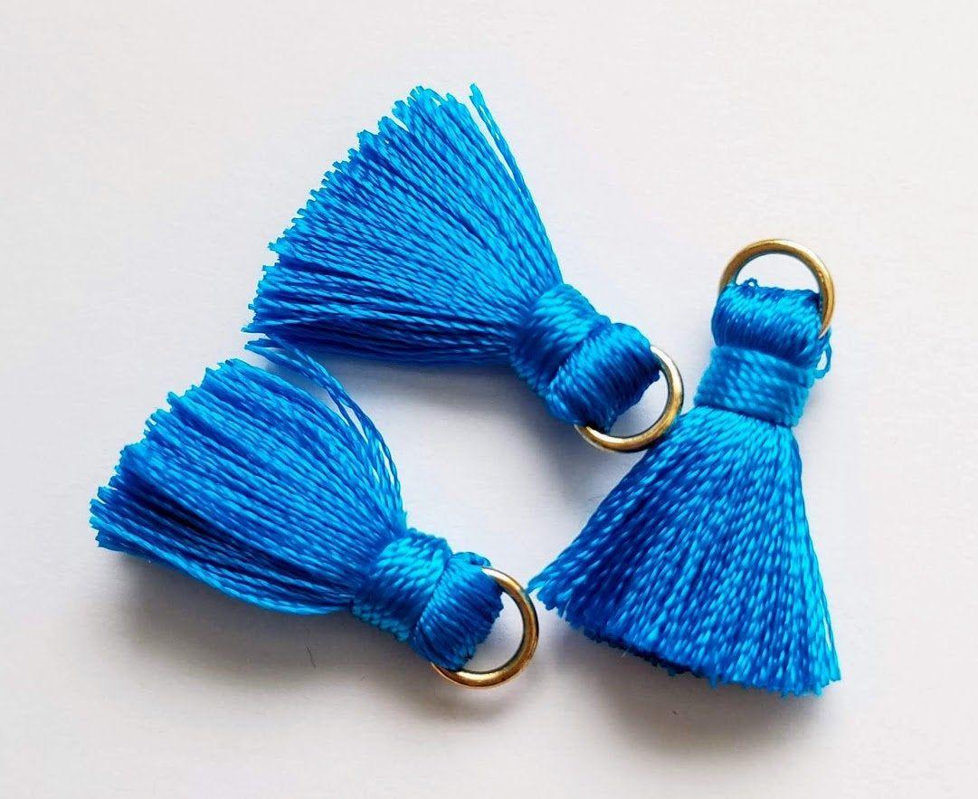 Tassels, Blue Tassels, Short Tassels, Jump Ring Tassels, 3 pieces, 20mm Tassels, TSL0928, Zardenia