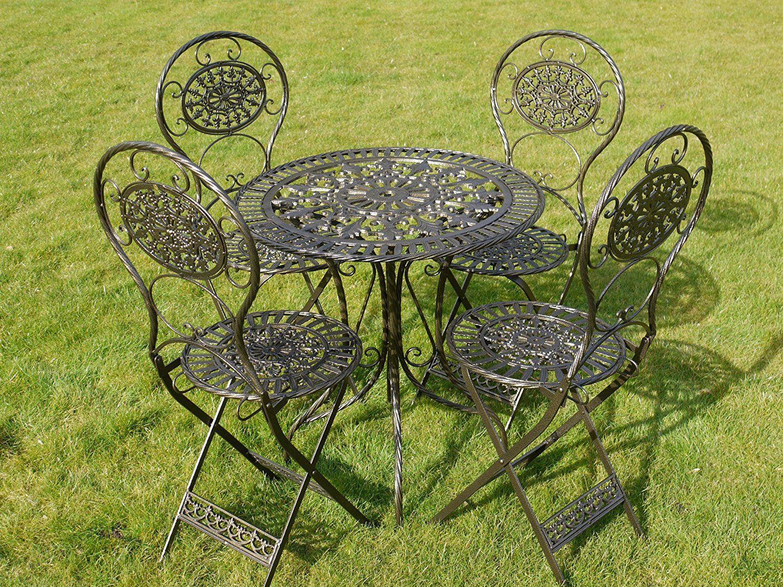 This Black Gold Wrought Iron 5 Piece Bistro Style Garden Patio Furniture Set Co Uk Outdoors