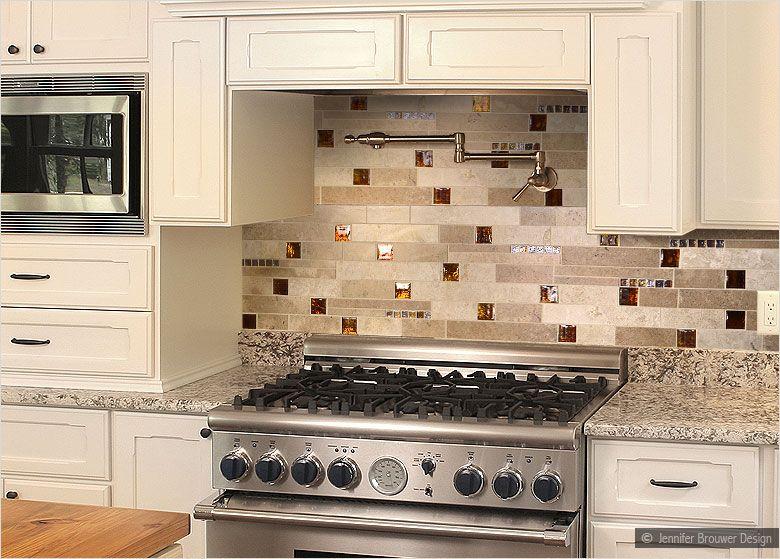 brown glass travertine mix backsplash tile dark and light