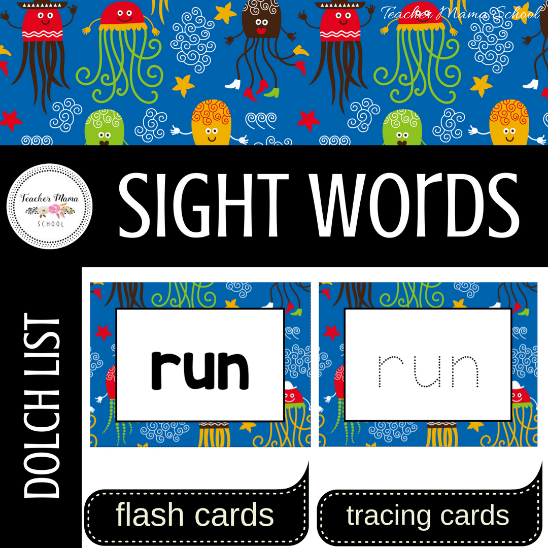 Word Wall Cards with Sight Words - Read and Trace {Blue Nautica}