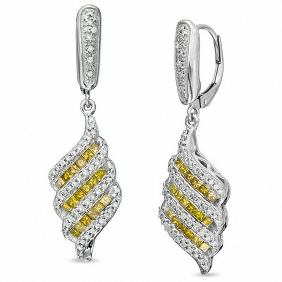 d95fe950d99 1 CT. T.w. Enhanced Yellow and White Diamond Cascading Drop Earrings in Sterling  Silver