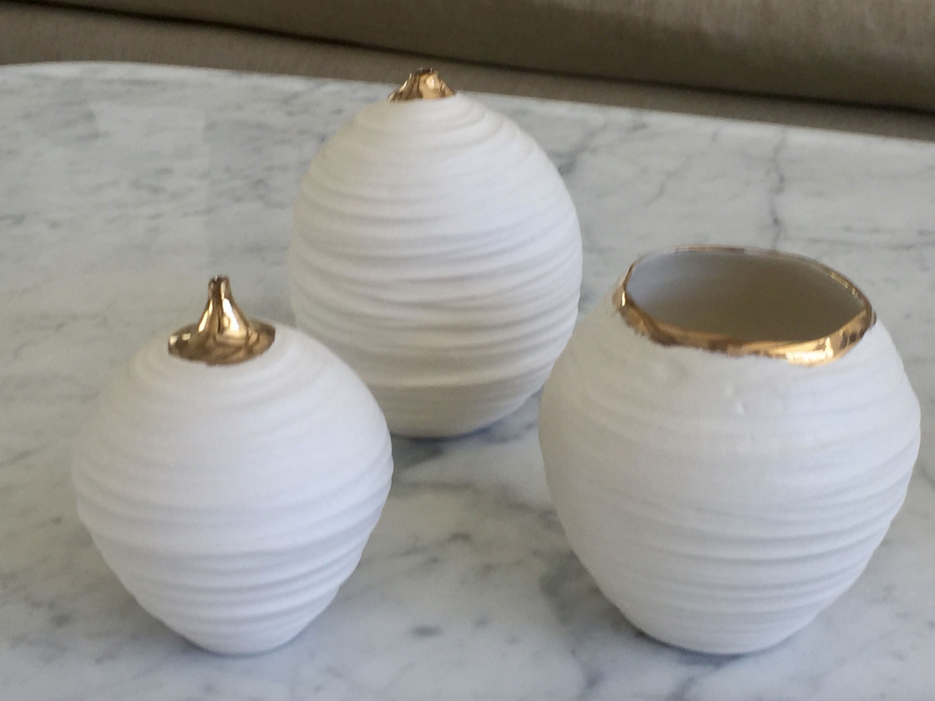 Porcelain Vase With Gold Rim By Elke Levine