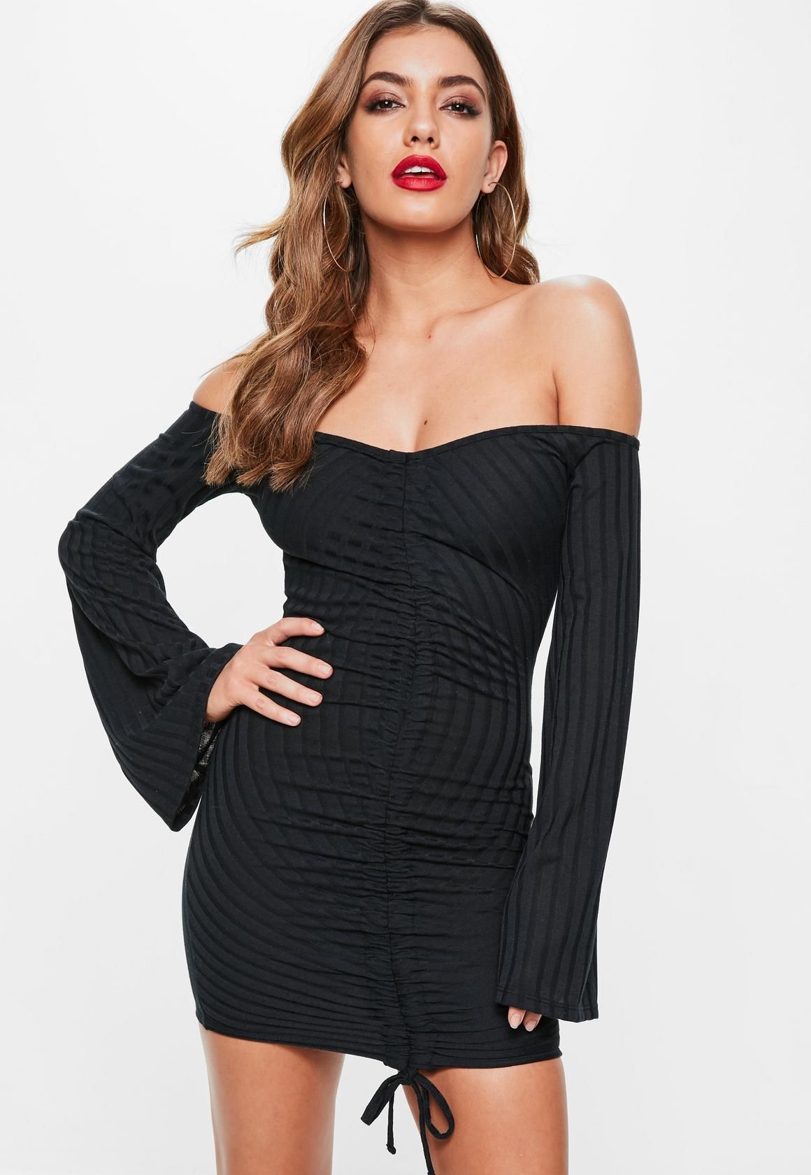 70c143b473a Missguided - Black Ruched Front Ribbed Bardot Dress