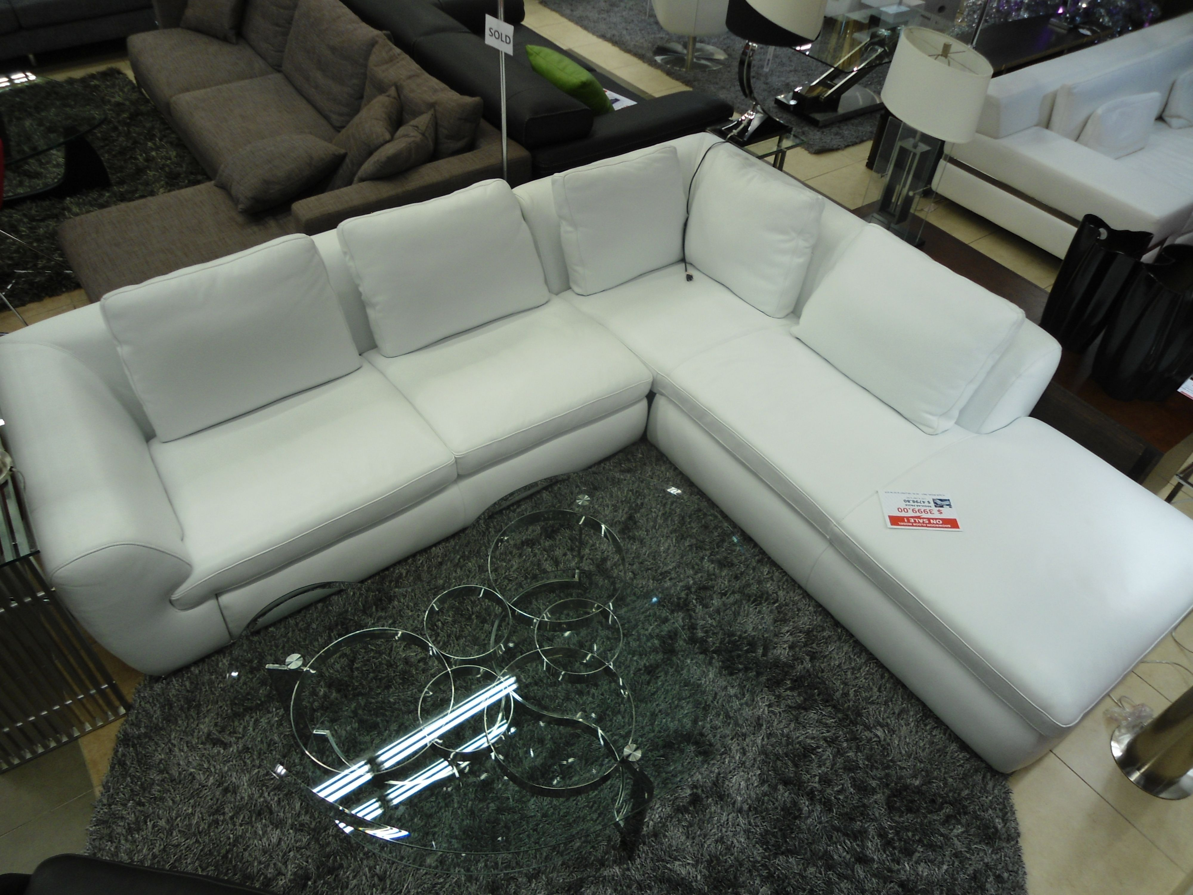 Contemporary Pure White Leather Sectional Sofa Furniture Toronto