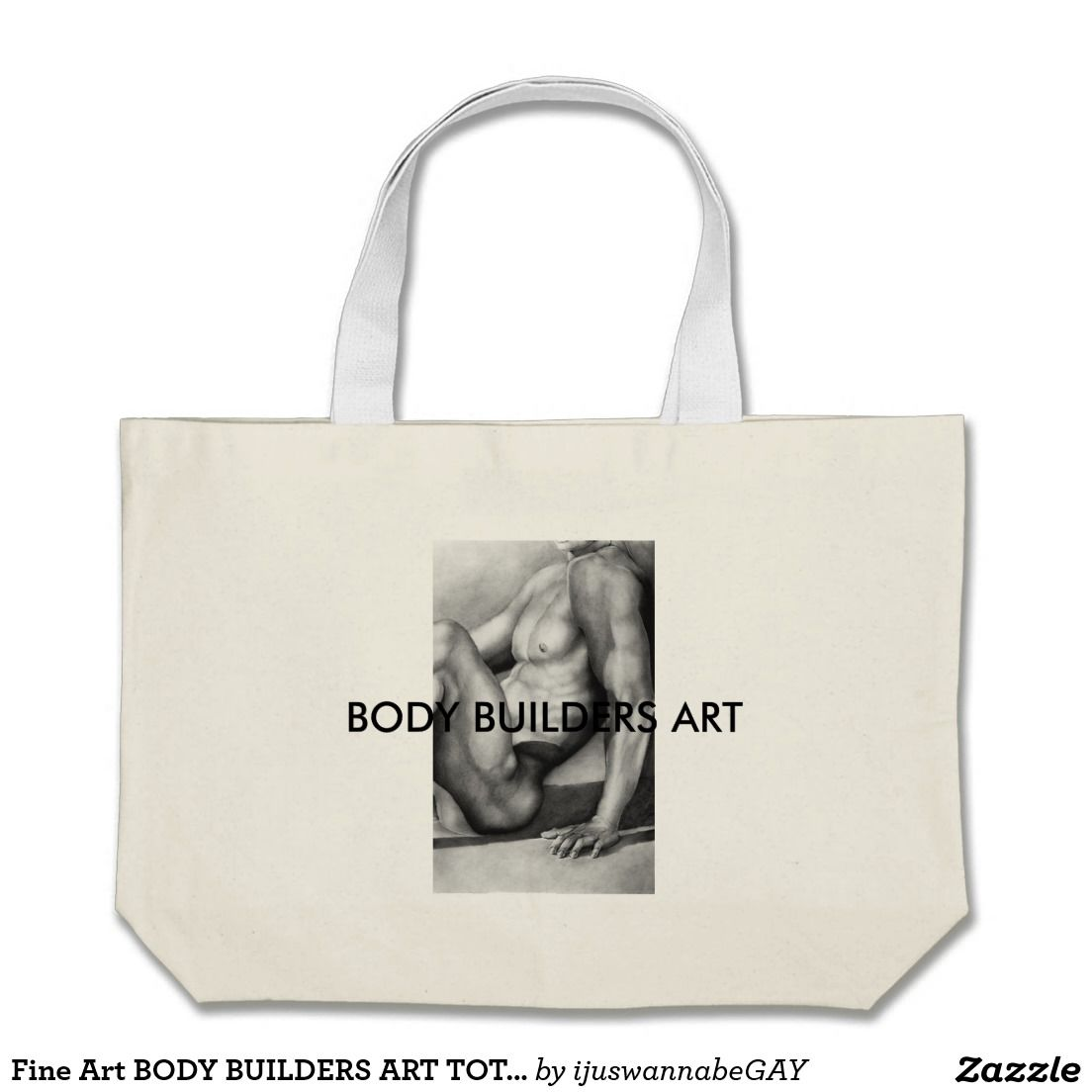 """Tote Bags with beautiful Fine Art Drawing of BODY BUILDERS ART TOTE BAG - by """"RjF"""".xx."""