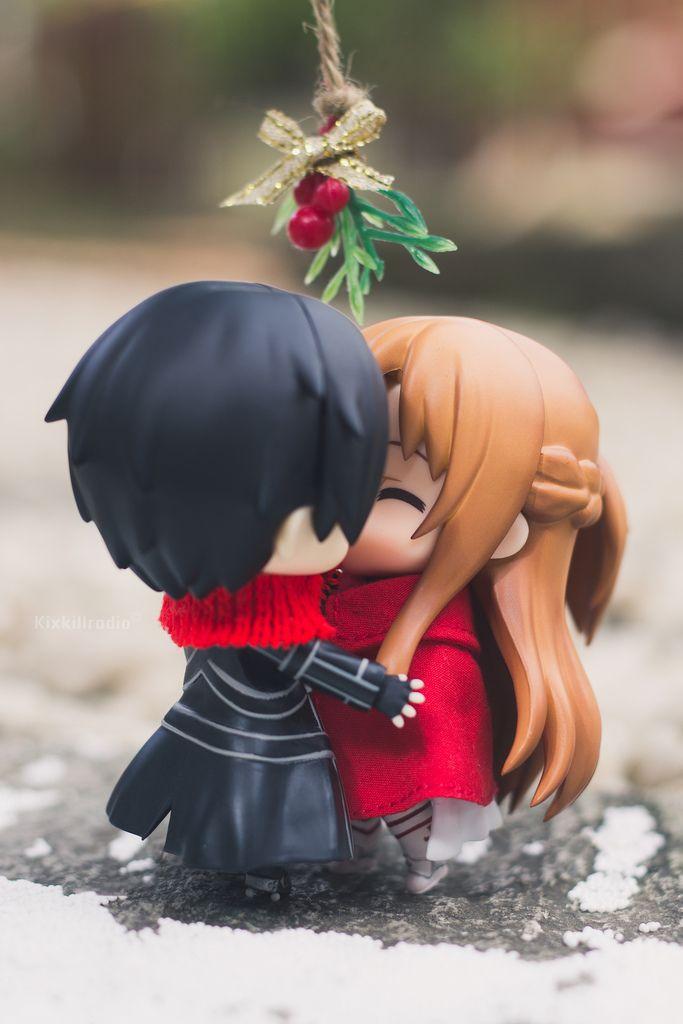 Cute Chibi Girl Wallpaper Sword Art Online S Asuna And Kirito On Christmas Day