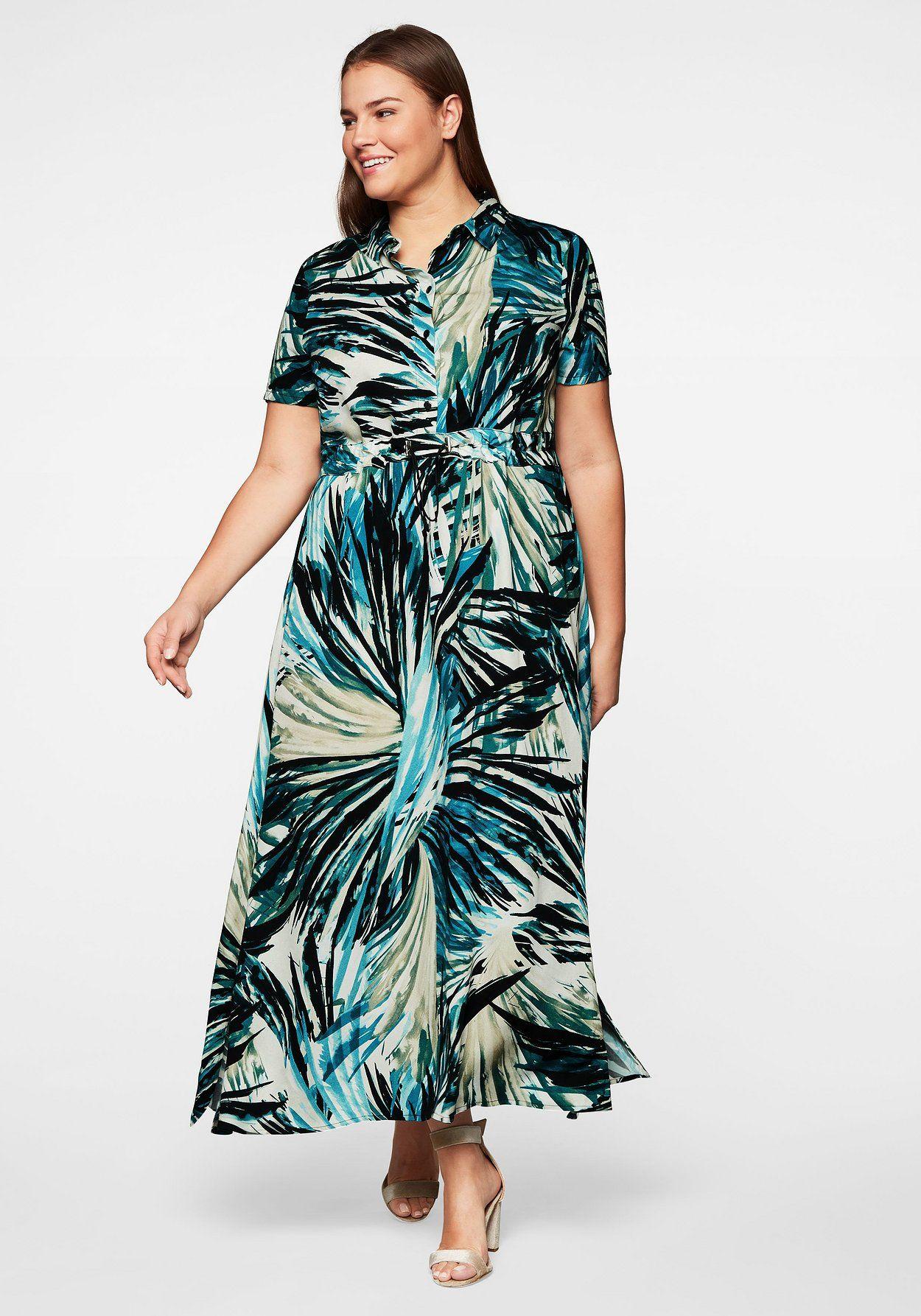 hemdblusenkleid mit tropischem alloverdruck - schwarz