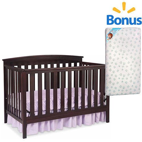 Baby Bed Crib Convertible With Mattress 4 in 1 Youth Infant New Born ...
