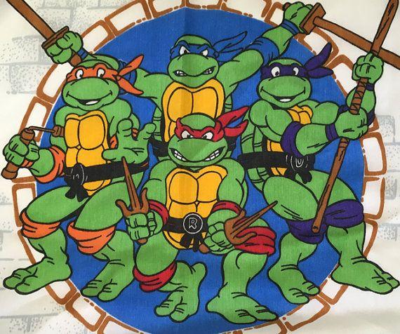 Vintage Teenage Mutant Ninja Turtles Bed Sheet Flat Twin Vintage Cartoon Tmnt Retro
