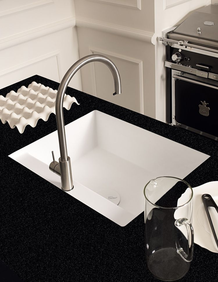 arbeitsplatte corian küche dupont schwarz weiss spüle - spüle für küche