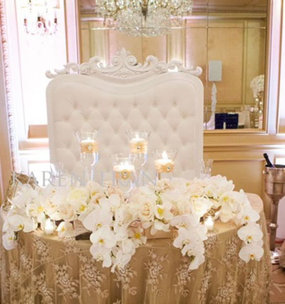 Stylish sweetheart table decorations weddings romantique for Table and chair decorations for weddings
