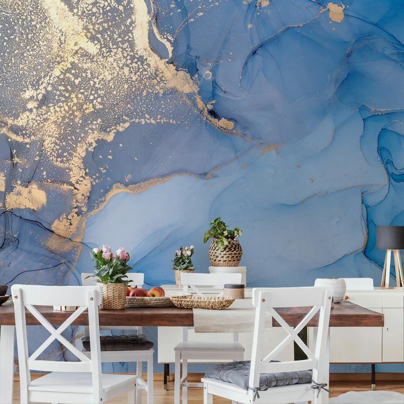 Art Wallpaper Peel And Stick Self Adhesive Marble Wall Mural Removable Abstract Wallpaper Blue Wall Mural Gold Wallpaper Living Room Bedroom Parete Murale Carta Da Parati Astratta Carta Da Parati Dorata