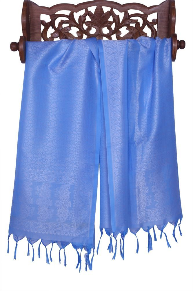 Light & Soft Pure Silk Banarasi Scarf with Silver Thread Embroidery and Fringes #Handmade #Scarf