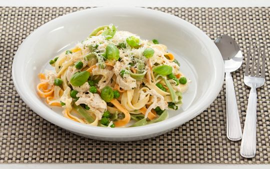 Feed a family of four for NZ $15. Creamy Chicken and Basil Pasta.  From countdown website.