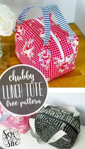 Chubby Lunch Tote - Free Sewing Pattern! | Taschen nähen, Diy tasche ...