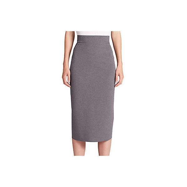 Donna Karan Jersey High-Waist Pencil Skirt ($318) ❤ liked on Polyvore featuring skirts, grey, long grey skirt, grey pencil skirt, gray pencil skirt, long fitted skirts and long pencil skirt