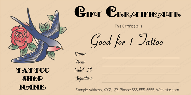Love Bird Tattoo Gift Certificate Template Gift