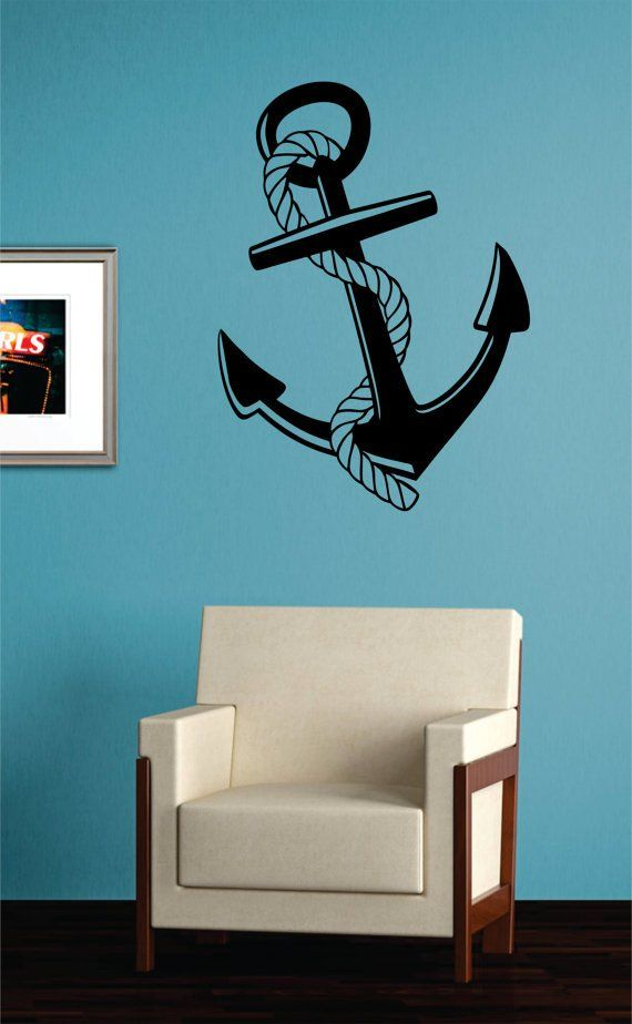 anchor with rope nautical ocean beach decal sticker wall vinyl art