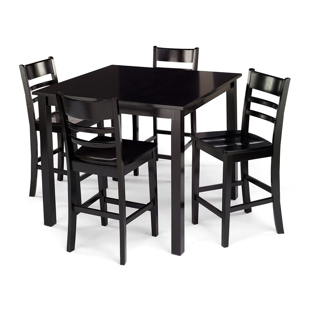Miraculous Hd Designs Ecco 5 Piece Gathering Set Black Our Gmtry Best Dining Table And Chair Ideas Images Gmtryco