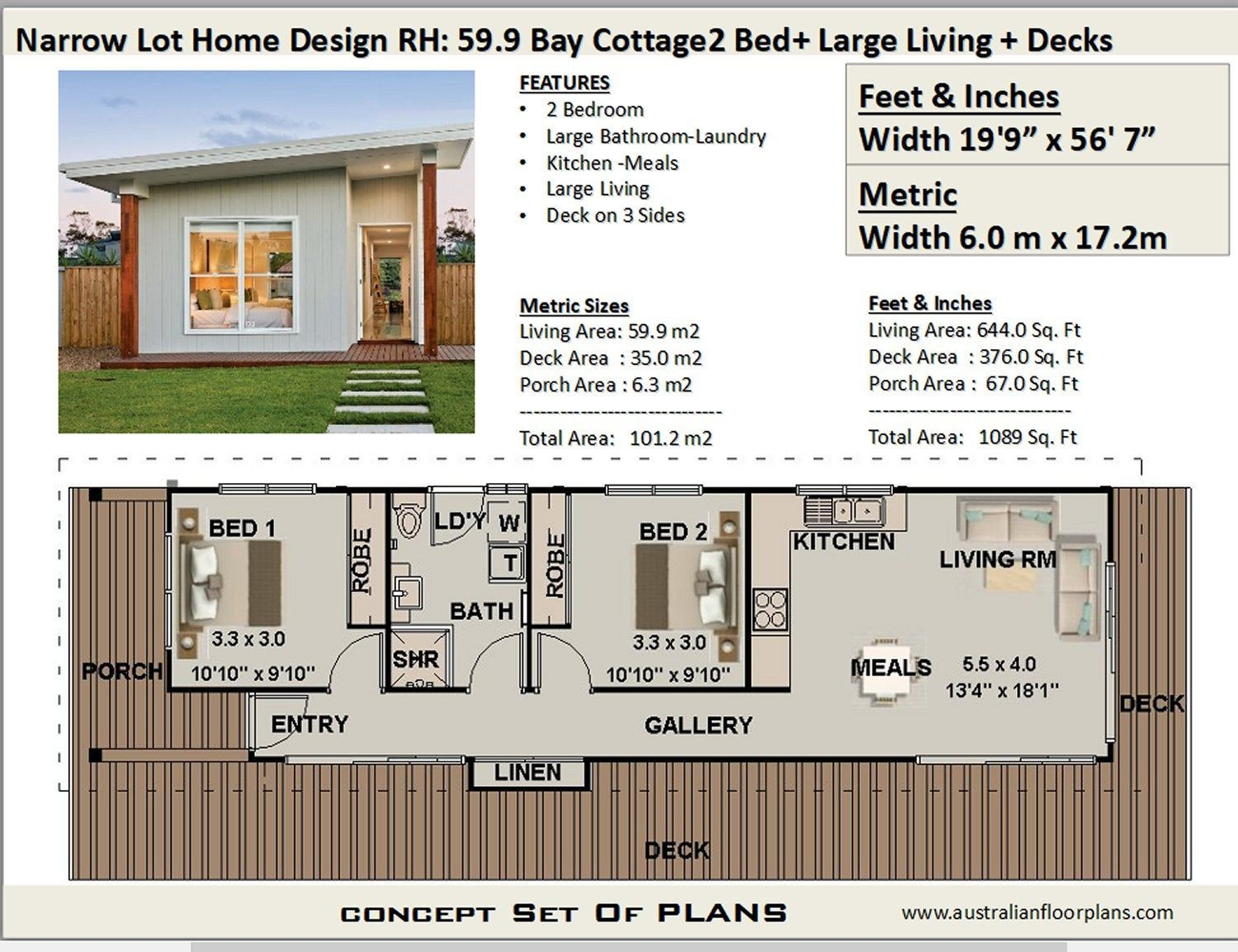 59 9 Bay Cottage 645 Sq Feet Or 59 9 M2 2 Bedroom 2 Bed Etsy House Plans Australia Narrow House Plans Free House Plans