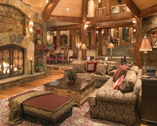 Luxury Residence Design in Victorian Rustic Styles : Fascinating Depping Residence Living Room Decor With Antique Sofa