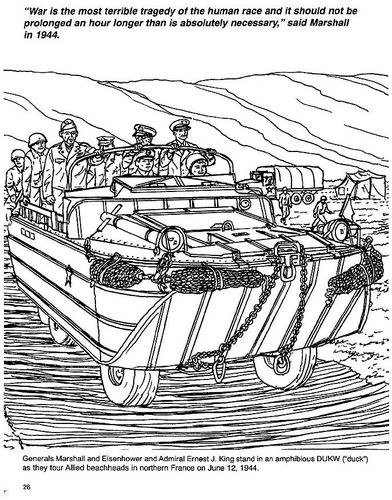 Ww2 Coloring Page General Marshall In An Amphibious Vehicle World - Ww2-coloring-pages