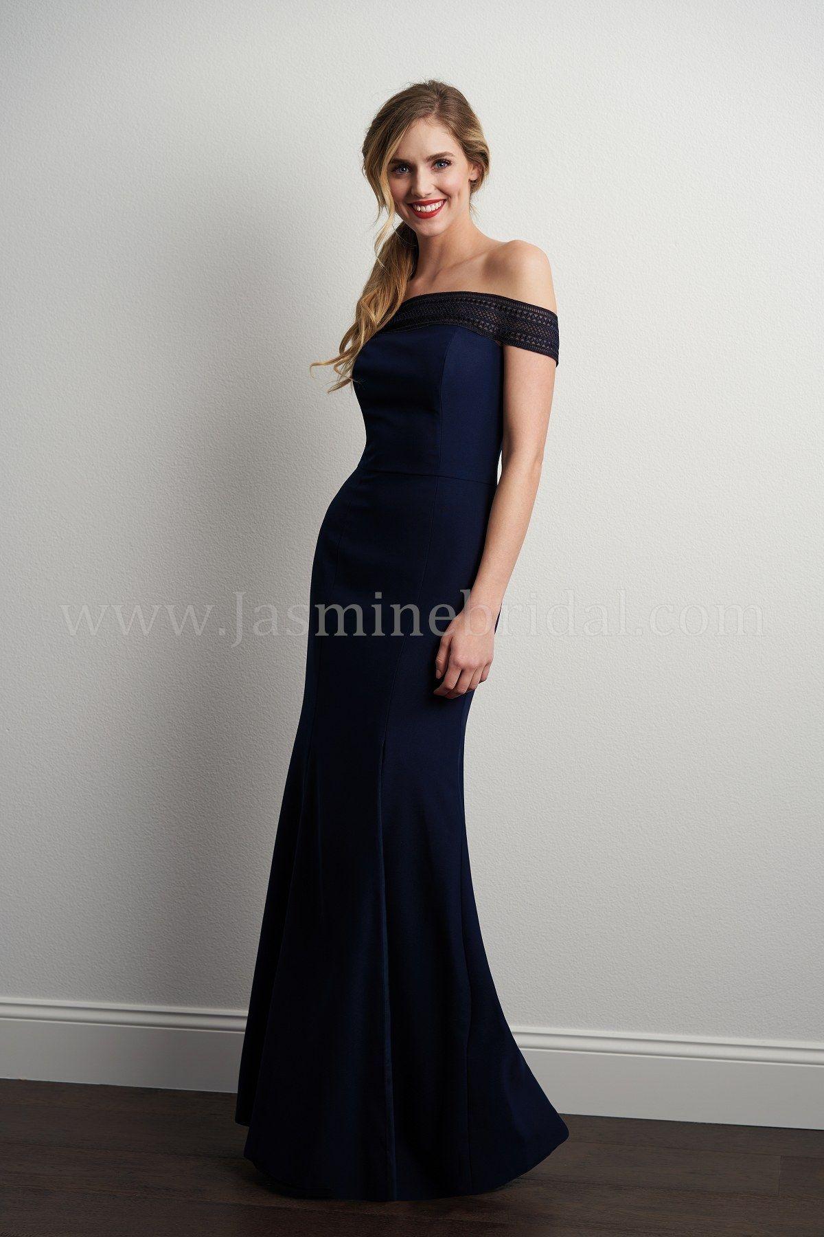 P offtheshoulder lace u soft crepe long bridesmaid dress