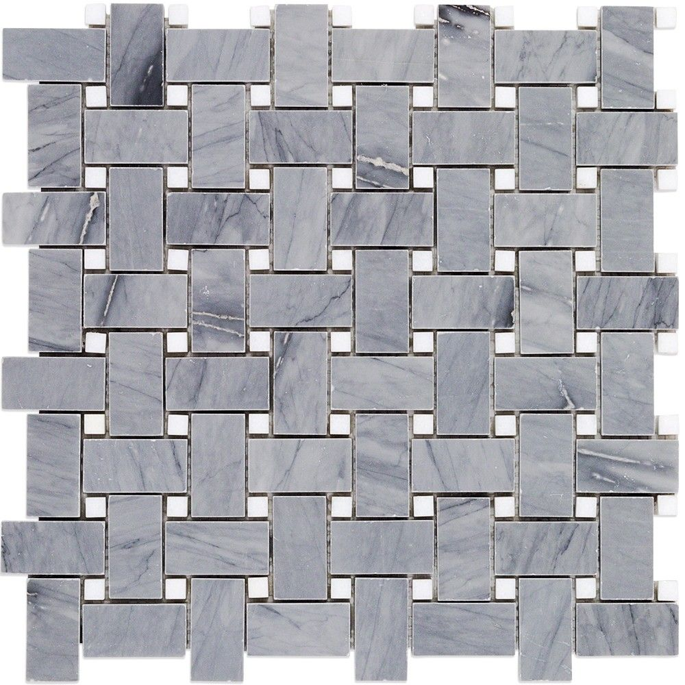 Basket Weave Halley Gray Thassos Dot Marble Tile Marble Mosaic Tiles Grey Marble Tile