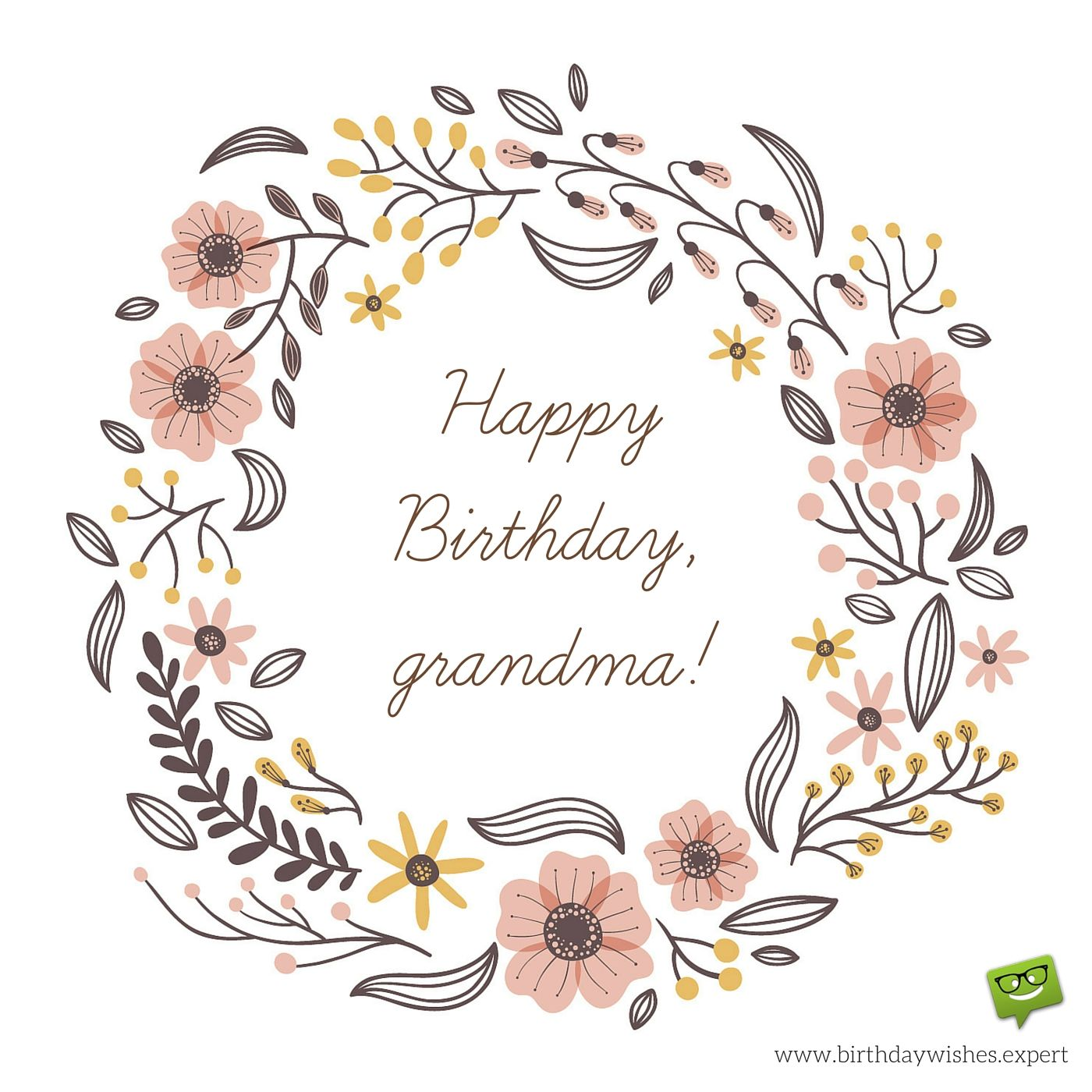 Happy Birthday Grandma image with hand drawn flowers