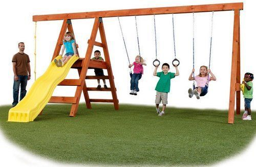 Swing Set Wood Playground Slide Outdoor Kids Play Backyard Swingset Hanger