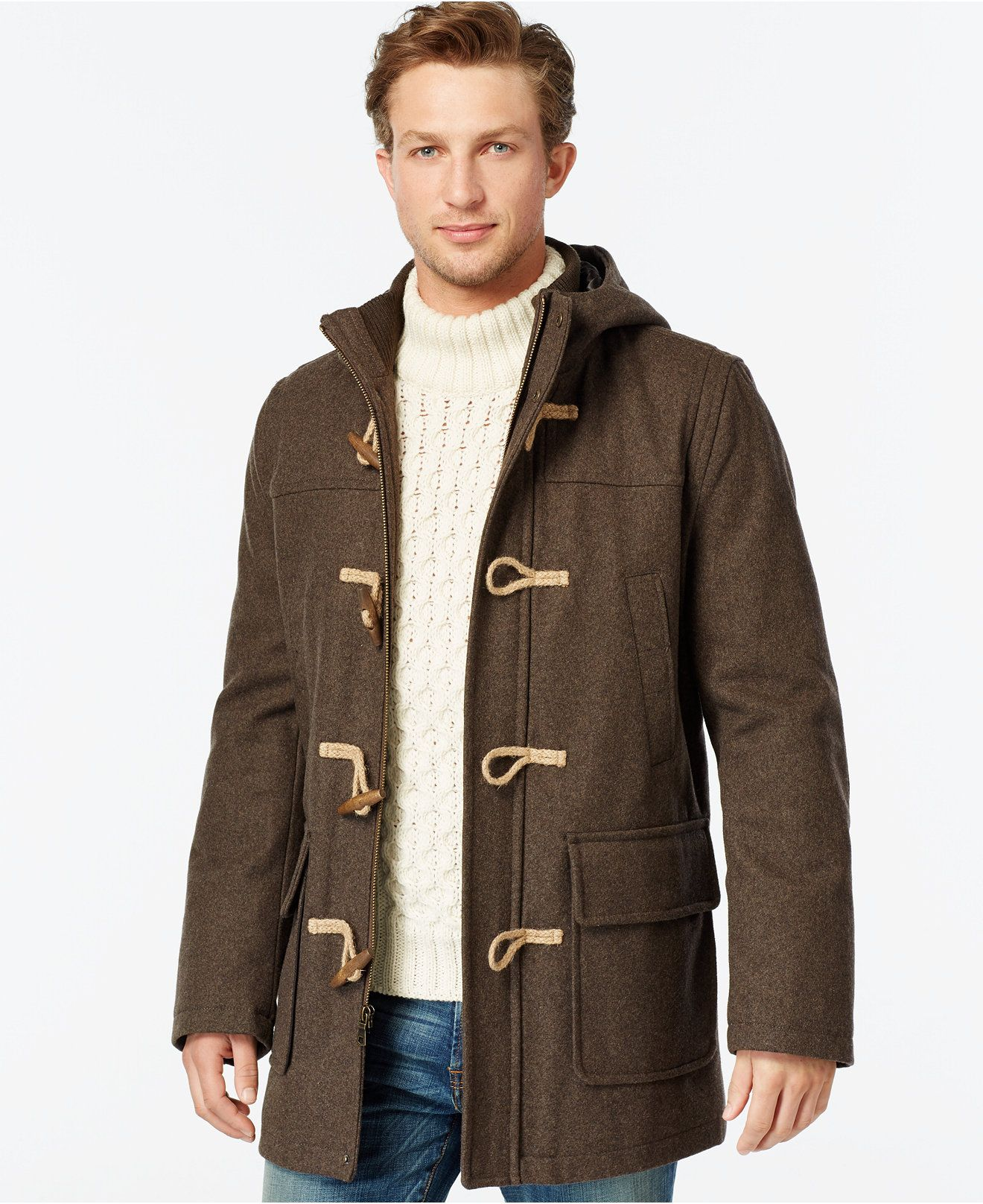 Tommy Hilfiger Wool Blend Melton Toggle Coat Coats Jackets Men Macy S Coat Mens Winter Fashion Toggle Coat [ 1616 x 1320 Pixel ]