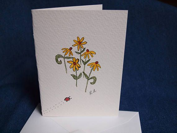 Flower Card Original Art On Watercolor Paper Blank Note Flower