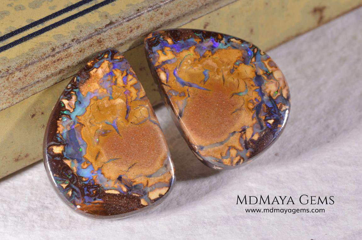 Australian Boulder Opal Pair 24.03 ct total Opal