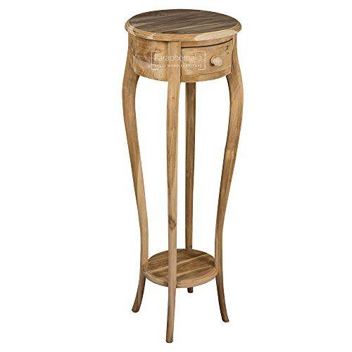 Delicieux Natural Teak Tall Slim Side Table / Lamp Table / Bedside ... Https: