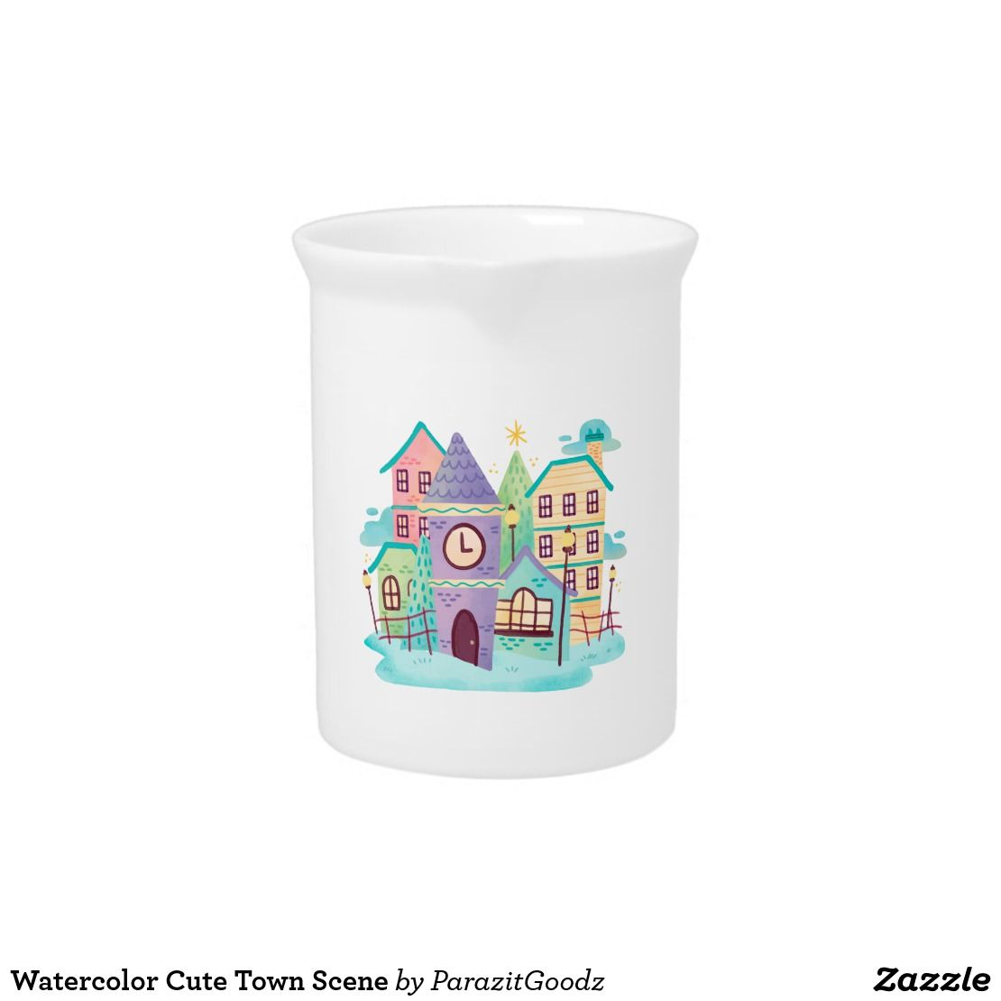 You will feel at home and neighborhood with this watercolor cute town design products