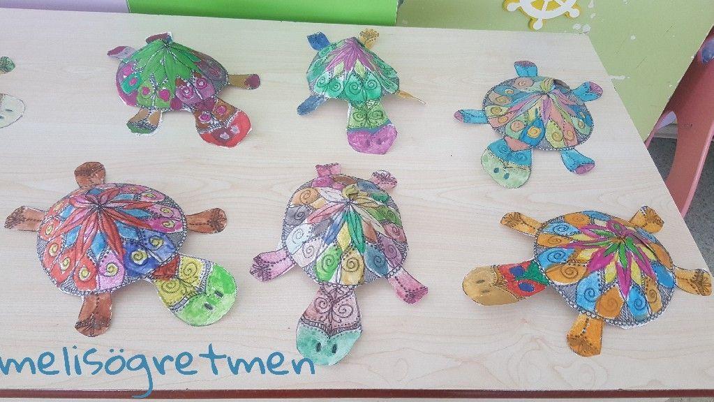 Kaplumbağa Mandala Boyama Etkinliği üç Boyutlu Okuloncesi Pinterest