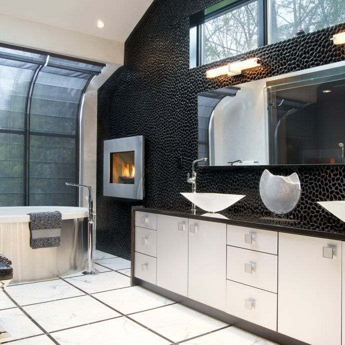 Dark Accent Wall Behind Vanity: A Gorgeous, Textured Accent Wall Is A Show-stopper In This